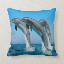 DOLPHINS JUMPING OUT OF THE WATER PILLOW CUSHION