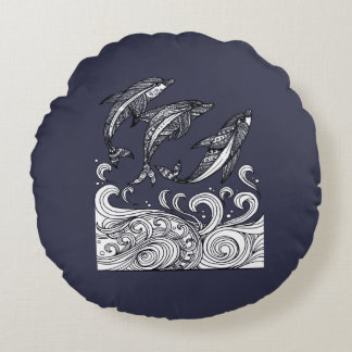 Dolphins Jumping Round Pillow
