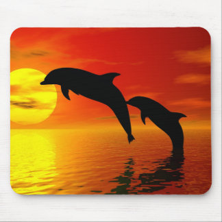 Dolphins Jumping Sunset Mousepad