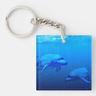 Dolphins Single-Sided Square Acrylic Keychain