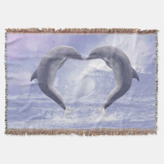 Dolphins Kisses Throw Blanket