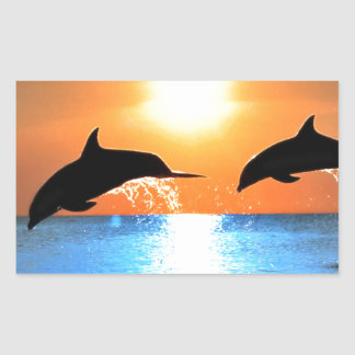 Dolphins Leaping Rectangular Sticker
