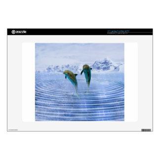 "Dolphins make ripples 15"" laptop skin"