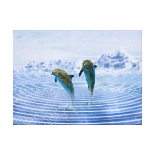 Dolphins make ripples canvas print