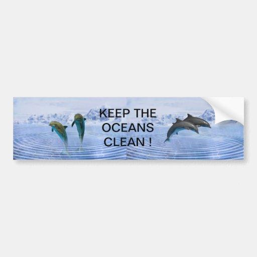 Dolphins make ripples car bumper sticker