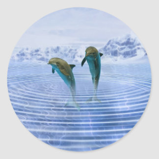 Dolphins make ripples classic round sticker