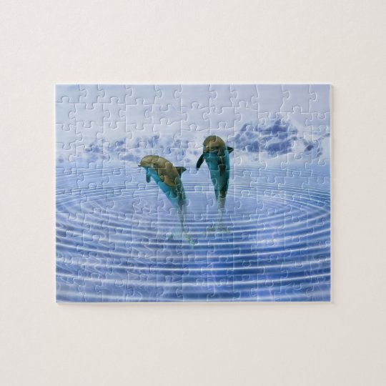 Dolphins make ripples jigsaw puzzle