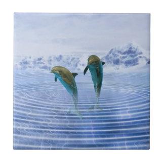 Dolphins make ripples ceramic tile