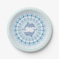 Dolphins Mandala Blue White Paper Plate