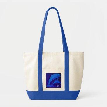 Beach Themed Dolphins Monogram Ocean Sea Beach Blue Jumbo Tote