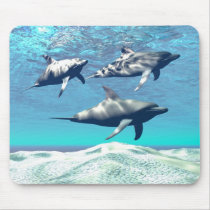 sea, ocean, group, together, background, beautiful, blue, brave, challenge, clear, concept, conceptual, coral, escape, exploration, fish, flee, free, freedom, liquid, motion, move, reef, sandy, school, splash, splashing, spring, swim, tropical, underwater, water, dolphins, oceans, Mouse pad com design gráfico personalizado