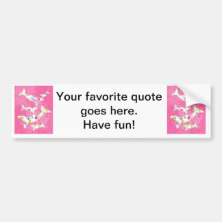 Dolphins on floral pink background. bumper sticker