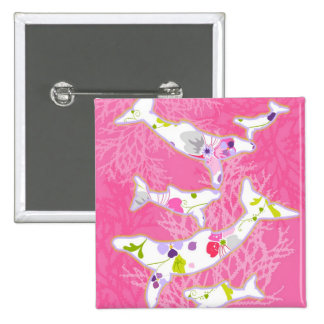 Dolphins on floral pink background pins