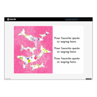 Dolphins on floral pink background decals for laptops