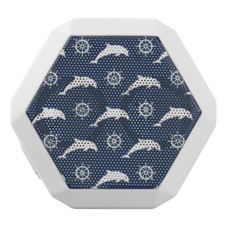 Dolphins On Parade Pattern White Bluetooth Speaker