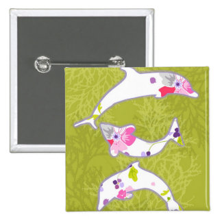 Dolphins on pastel green background buttons