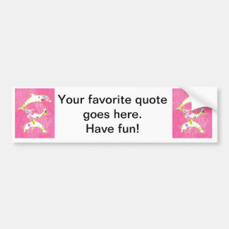 Dolphins on pink background. bumper sticker