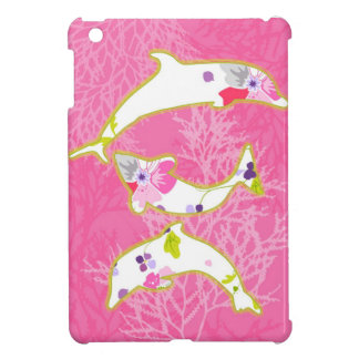 Dolphins on pink background. cover for the iPad mini