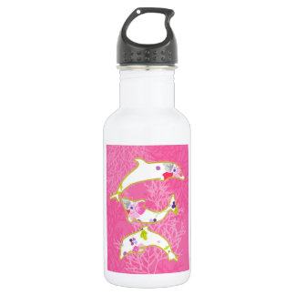 Dolphins on pink background. stainless steel water bottle
