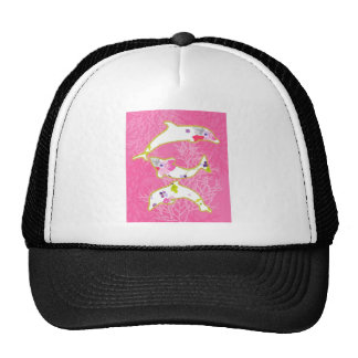 Dolphins on pink background. trucker hat