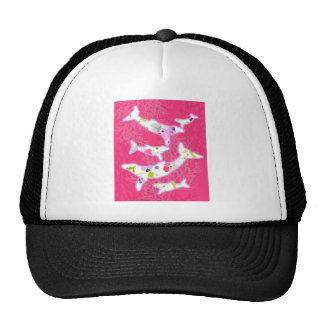 Dolphins on plain pink background. trucker hat