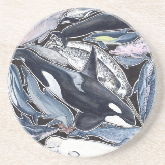 Dolphins, orcas, belugas and narvales drink coaster