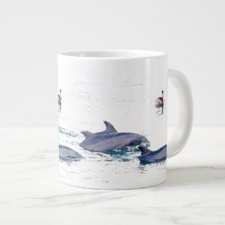 Dolphins & Pelican Jumbo Mug 20 Oz Large Ceramic Coffee Mug