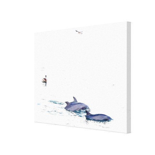 Dolphins & Pelican Stretched Print Gallery Wrap Canvas