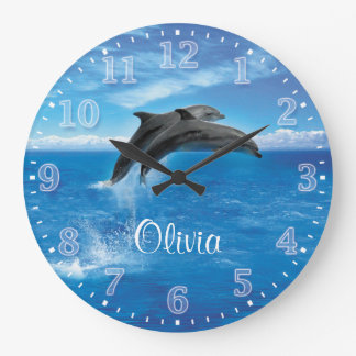 Dolphins Personalizable Wall Clock