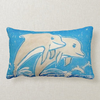 Dolphins Pillow, Cotton, 13x21 Inches Lumbar Pillow