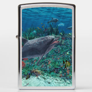 Dolphins play in the reef zippo lighter