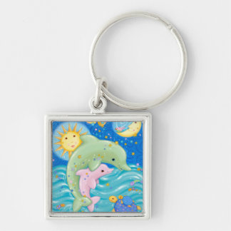 Dolphins Play Keychain