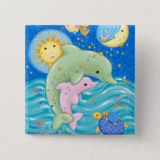 Dolphins Play Pinback Button