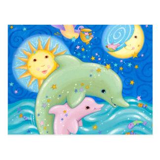 Dolphins Play Postcard