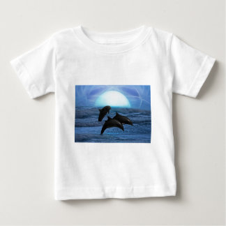 Dolphins playing at moonlight baby T-Shirt