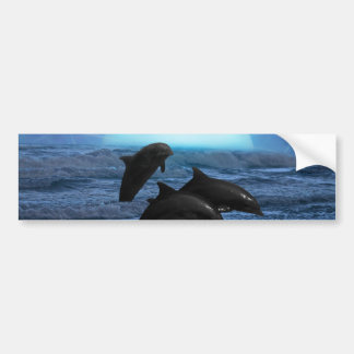 Dolphins playing at moonlight bumper sticker