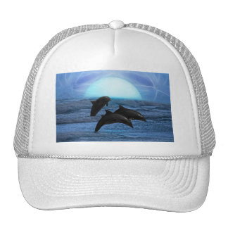 Dolphins playing at moonlight trucker hat