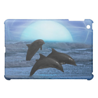 Dolphins playing at moonlight iPad mini cases