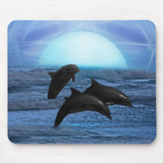 Dolphins playing at moonlight mouse pad