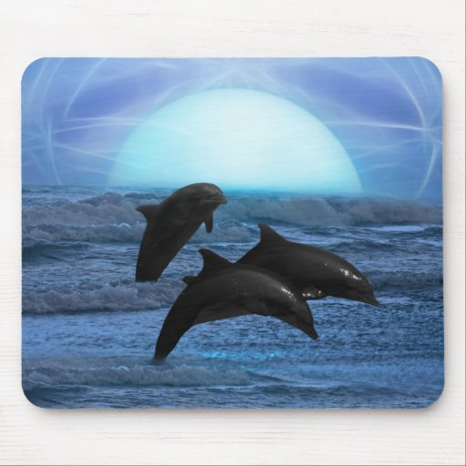 Dolphins playing at moonlight mousepads