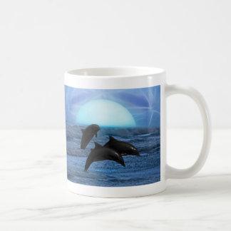 Dolphins playing at moonlight mugs