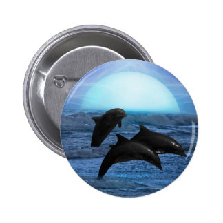 Dolphins playing at moonlight pinback button