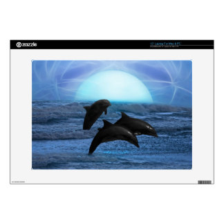 """Dolphins playing at moonlight skin skin for 15"""" laptop"""