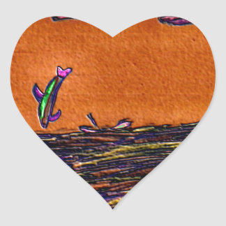 Dolphins Playing In Ocean Colored Foil Effects Heart Sticker
