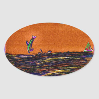 Dolphins Playing In Ocean Colored Foil Effects Oval Sticker