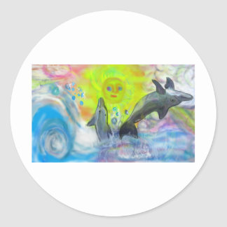 Dolphins playing in paradise classic round sticker
