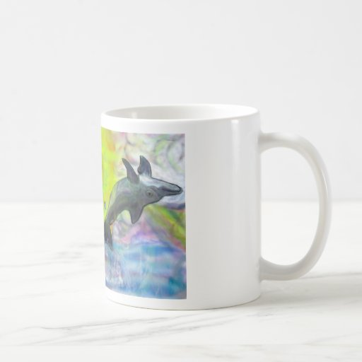 Dolphins playing in paradise coffee mug