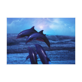 Dolphins playing in the ocean gallery wrapped canvas