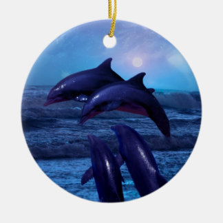 Dolphins playing in the ocean christmas tree ceramic ornament