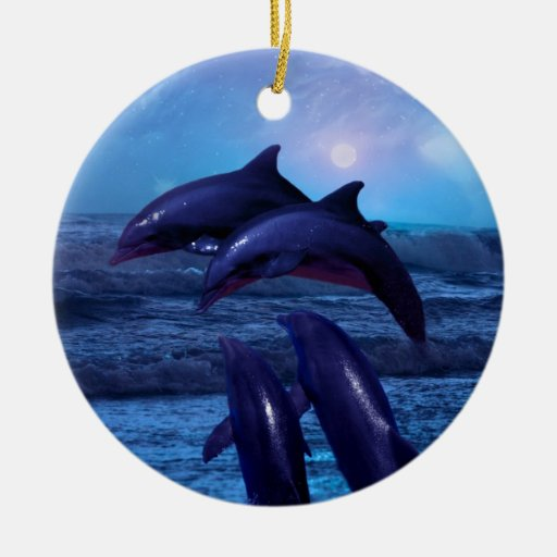 Dolphins playing in the ocean christmas tree christmas tree ornament